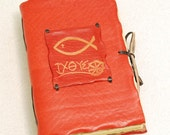 Christian Fish Leather Journal.Red Book for Prayers and Thoughts.