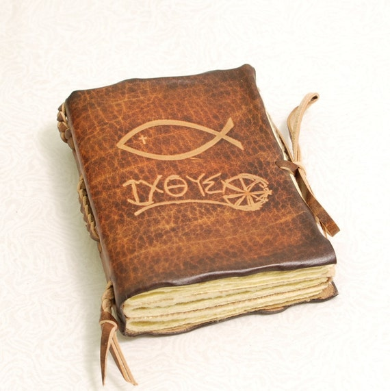 Christian Fish Leather Journal. Brown Pocket size Book for Prayers and Thoughts