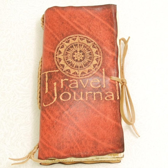 Red Travel Journal, leather.