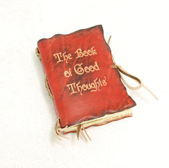 The Book Of Good Thoughts. Red Pocket size Leather Journal.