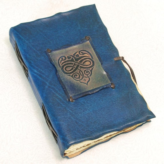 Blue Heart Leather Journal
