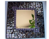 Abstract Mosaic Mirror Lavender and Black