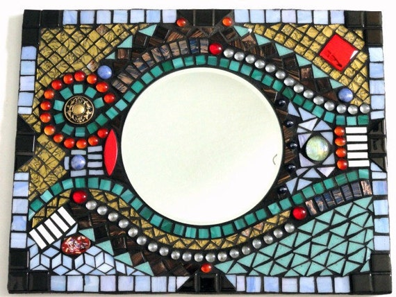 Abstract Mosaic Mirror Take 30%OFF w/Coupon Code CIJ30, Rectangular Wall Hanging, Framed Mirror