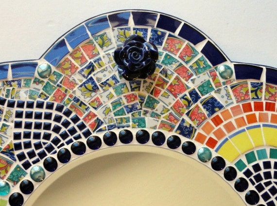 Mosaic Wall Mirror Cobalt Blue, Yellow, Orange/ Wall Decor/ Beach Home Decor/ Mixed Media Art/ Broken Dish Mosaic Mirror/ Beach/ Bold Colors