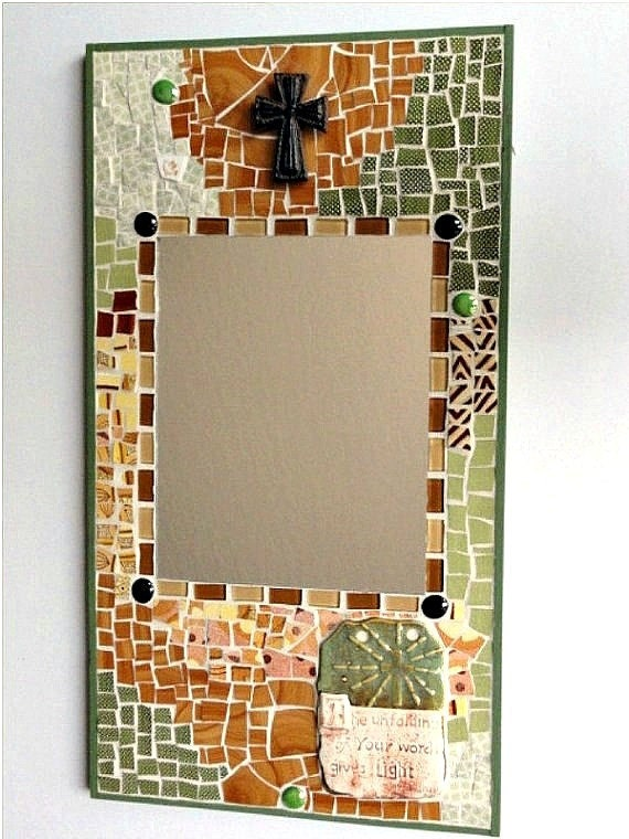Spiritual/Religious Mosaic Mirror, Broken Dish in Warm Gold and Moss Green