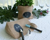 Set of 24 or more Burlap Bags with Re-Useable Chalkboard Labels for Party Favors, Table Numbers, Centerpieces, Gift Bags and More