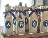 Set of 8 Jute Burlap Wine Bottle Bags to Custom Label over and over again