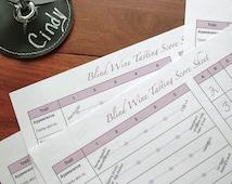 Wine Tasting Party Scorecards, set of 4