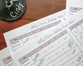 Wine Tasting Party Scorecards, set of 4