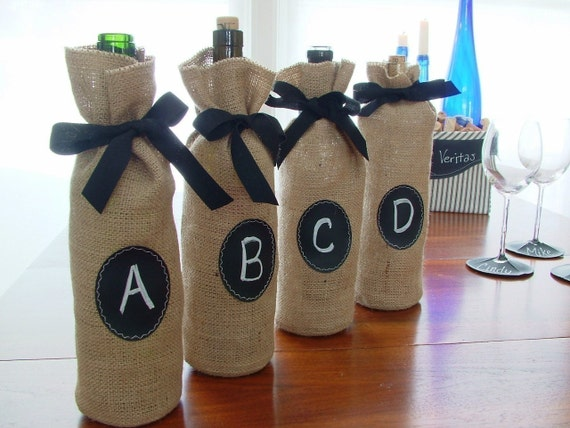 Burlap Wine Bottle Bags with Message Label - Set of 4