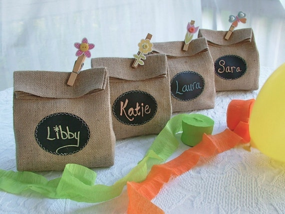 Set of Four Burlap Gift Bags with Chalk Cloth labels to customize over and over again