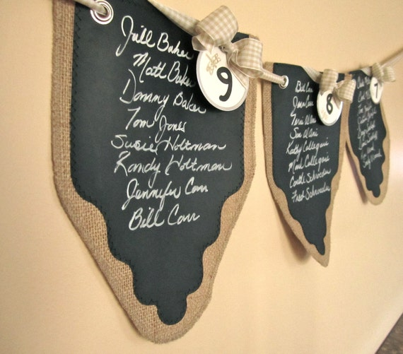Set of 8 Wedding Banners ... Seating Chart ...  to Customize for Corin with a Chalk Marker