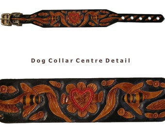 Hand carved dog collar with bees and heart