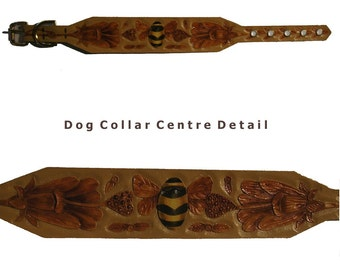 Hand carved dog collar with bee and flowers