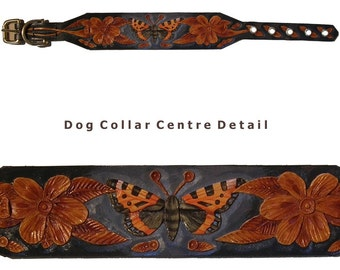 Hand carved dog collar with small tortoiseshell butterfly