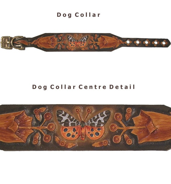 Hand carved dog collar with garden tiger moth butterfly