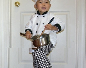 toddler Chef hat, coat, and pants Halloween costume, portrait photograph studio outfit, toddler size 1-5