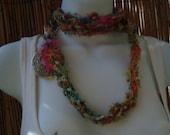 Eastern Flower sari silk necklace or lariat