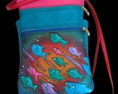 "Handmade Leather Pouch, Purse, Blue Rainbow,School of Fish Embossed 7 x 9"" - Zipper Tote Adjustable Strap / 2 compartments, with back pocket"