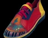 Handmade Leather  Shoes - Music Notes - Cowhide Red Orange Purple, Custom Made Size 5, 6, 7, 8, 9, 10 Lo-Tops Keyboard Musician