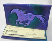 Galloping Horse Checkbook Cover Leather Case in Purple Black Teal Turquoise With Airbrushed Embossed Spirals & Stars Handmade Handcrafted