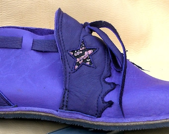 "Handmade Violet Leather  Shoes - Purple Bull Hide - ""NO SHOES"" Lightweight Vibram Sole Deer Skin Trim - Custom Made Size 5, 6, 7, 8, 9, 10"