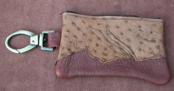 Leather Handmade Cell Phone Zipper Bag / Clip On Coin Change Purse, Tan Brown Buffalo Hide Abstract  Ostrich Skin With a Swivel Snap Clip