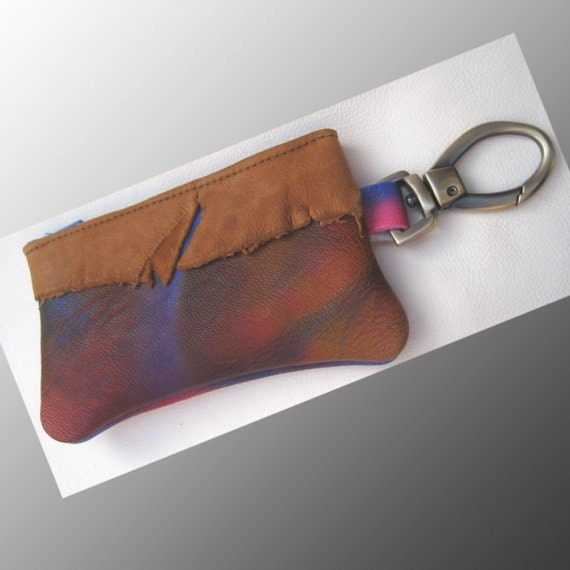 Cell Phone Bag Handmade Leather Zipper Wallet,Clip On Coin Change Purse,Tan Cowhide & Raggedy Deer Hide w/ Swivel Snap Clip Red Blue Painted
