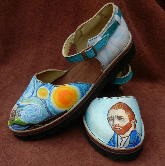 Handmade  Leather  Sandals - Van Gogh Starry Night & self portrait Turquoise Blue Yellow Sunny, STOCK Size 5, 6, 7, 8, 9, 10,11,12. or