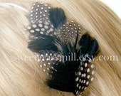 Feather Headband - MON AMI - Polka Dot and Black Feathers - Choose Headband or Clip