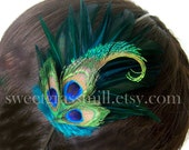 Melange Headband or Clip - Dark Teal and Peacock Feathers