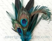 Peacock Feather Pin - MELANGETTE -  Dark Teal and Peacock Feathers - Brooch or Clip