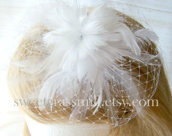 "Bridal Feather Fascinator Veil Hat ""White Parfait"""