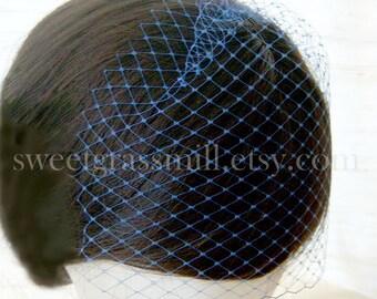 Petit BLEU Birdcage Veil - Royal Bleu Netting