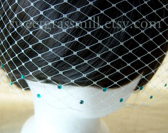Petit VEIL with TEAL Crystals - Choice of Ivory, Champagne, White and More