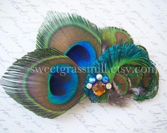 """Peacock Feather Fascinator """"Majeste"""" Crystal Clip"""