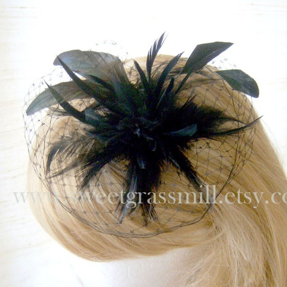 Theatre District - Black Feather Cocktail Hat