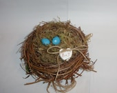 Bird Nest for Ring Bearer with Blue Faux Robin's Eggs for Rustic Country Farmhouse Wedding