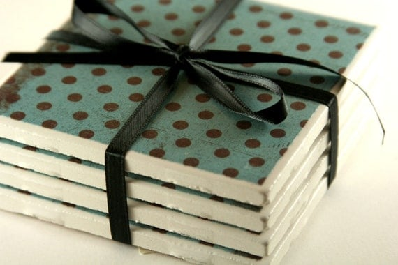 CLOSE OUT SALE- Mint Chip, Teal and Black Polka Dot Coasters- Set of 4 (made)