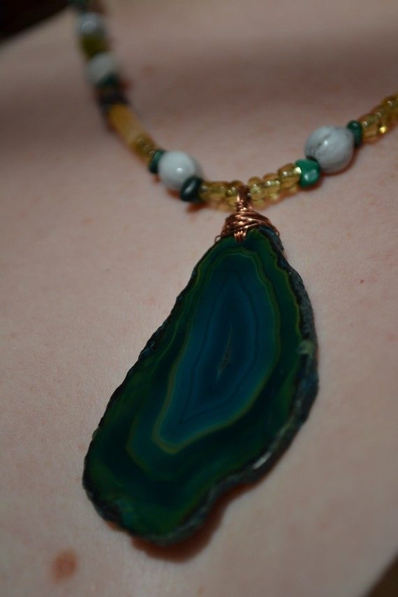Green Agate Forest Friends African Beaded Necklace