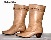 Ethnic Leather Boots 70s Western Cowboy Tan Mocha - size 6.5