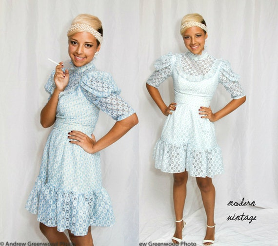 Lace Mini Dress Babydoll 60s Vintage Party Blue Summer - Small