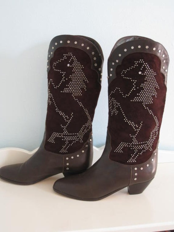 VTG Studded horse Mustang Stallion Boots size 7 brown leather