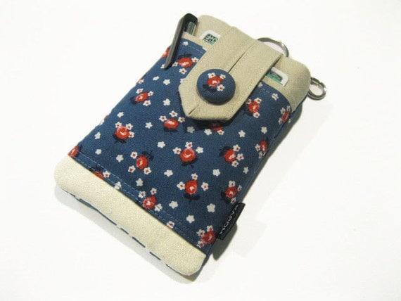 iPhone 5, 5s, 5c Case, iPod 5 gen case, Smart phone Pouch, Button Closure, Packed Floral Blue