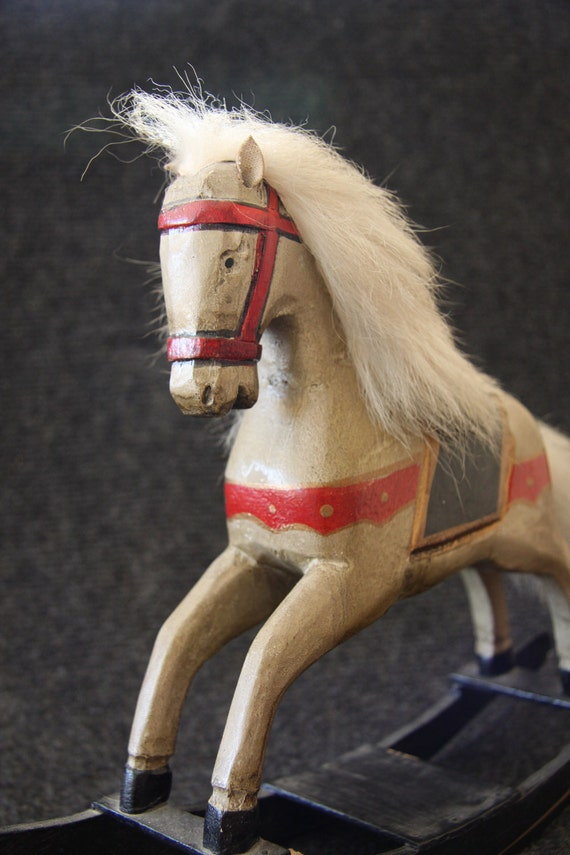 Beautiful vintage wooden rocking horse toy