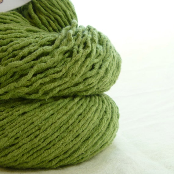 Spring Green Cotton Blend Recycled Worsted Weight Yarn