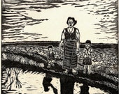 Family Portrait, limited edition lino cut, hand printed, hand signed in pencil by the artist