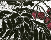 Lychees, limited edition, linoleum block print, printed and signed in pencil by the artist