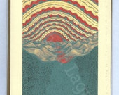 """3 Lagana Greeting cards, digitalized from Lagana's linoleum block prints, """"Turquoise Sunrise,"""" plus 2 more of your choice"""