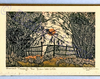 """3 Lagana Greeting cards, digitalized from Lagana's linoleum block prints, """"Sunset Through the Bamboo Gate,"""" plus 2 more of your choice."""